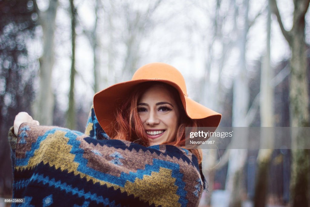 redhead woman enjoy in the wood : Stock Photo