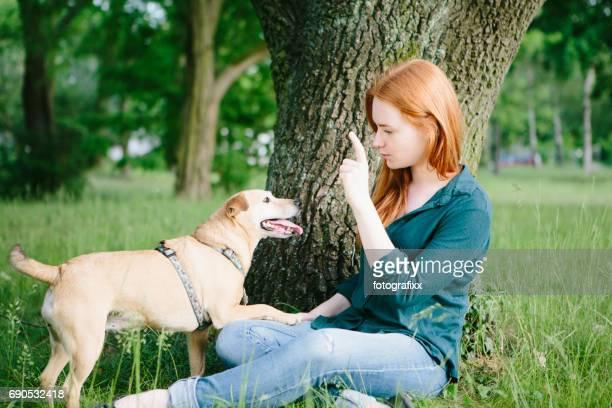 redhead young woman and her dog have fun outdoors - animal doméstico - fotografias e filmes do acervo