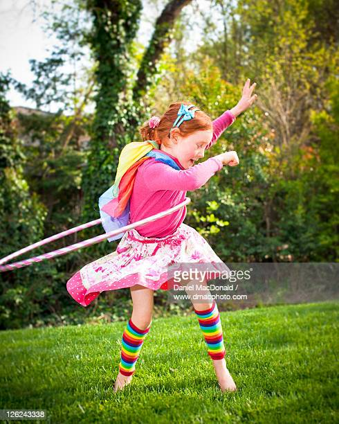 redheaded hula hoop girl - stockings no shoes stock pictures, royalty-free photos & images