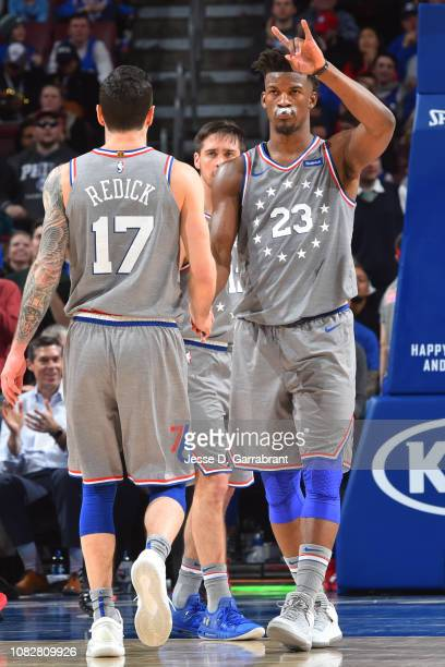 Redick and Jimmy Butler of the Philadelphia 76ers exchange handshakes during the game against the Atlanta Hawks on January 11 2019 at the Wells Fargo...