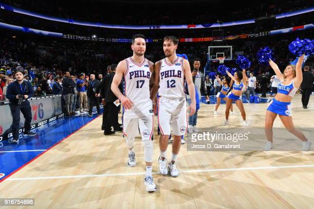 Redick and TJ McConnell of the Philadelphia 76ers walk off the court together after the game against the Los Angeles Clippers at Wells Fargo Center...