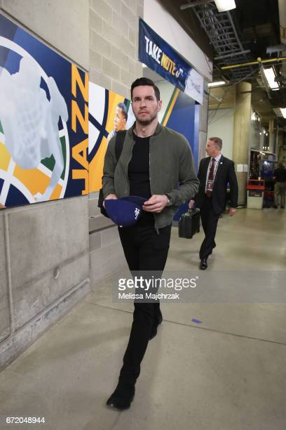 J Redick of the LA Clippers arrives for Game Four of the Western Conference Quarterfinals of the 2017 NBA Playoffs on April 23 2017 at...