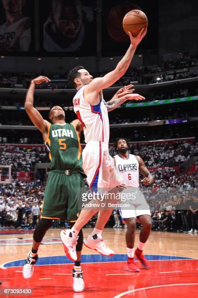 J Redick of the LA Clippers goes to the basket against the Utah Jazz in Game Five of the Western Conference Quarterfinals of the 2017 NBA Playoffs on...