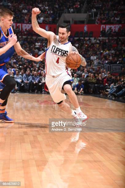J Redick of the LA Clippers handles the ball against the New York Knicks on March 20 2017 at STAPLES Center in Los Angeles California NOTE TO USER...