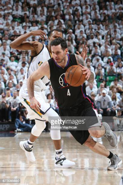 J Redick of the LA Clippers handles the ball against the Utah Jazz during Game Four of the Western Conference Quarterfinals of the 2017 NBA Playoffs...