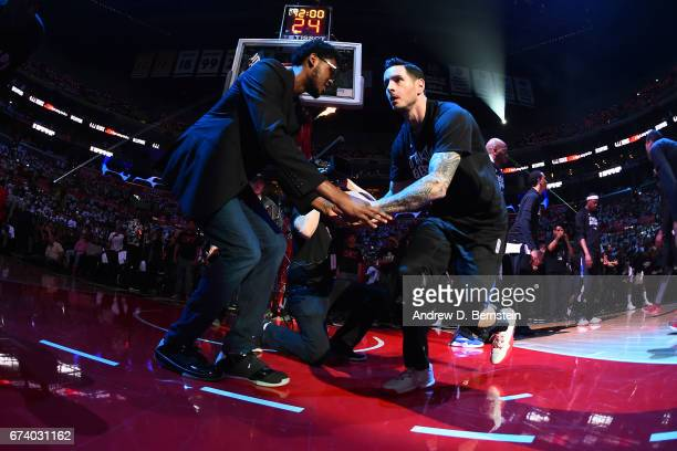 J Redick of the LA Clippers runs out before Game Five of the Western Conference Quarterfinals against the Utah Jazz during the 2017 NBA Playoffs on...