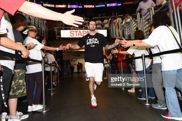 J Redick of the LA Clippers runs out before Game Seven of the Western Conference Quarterfinals against the Utah Jazz during the 2017 NBA Playoffs on...