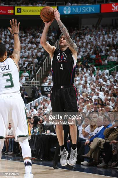 J Redick of the LA Clippers shoots the ball against the Utah Jazz during Game Four of the Western Conference Quarterfinals of the 2017 NBA Playoffs...