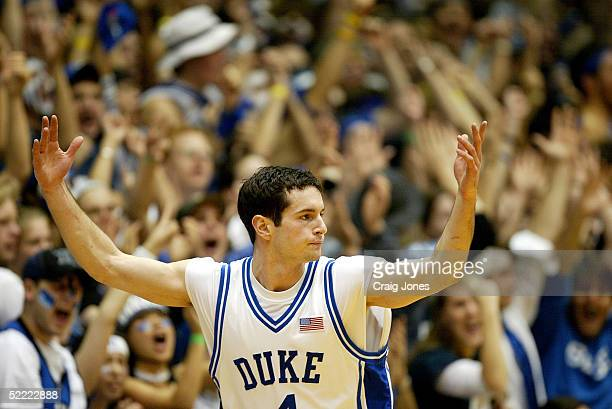 J Redick of the Duke Blue Devils gestures as he celebrates a first half three pointer against the Wake Forest Demon Deacons on February 20 2005 at...