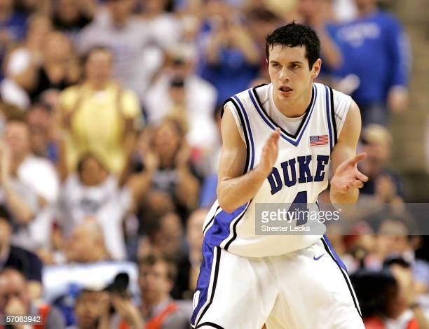 Redick of the Duke Blue Devils reacts against the Boston College Eagles during the finals of the Atlantic Coast Conference Men's Basketball...