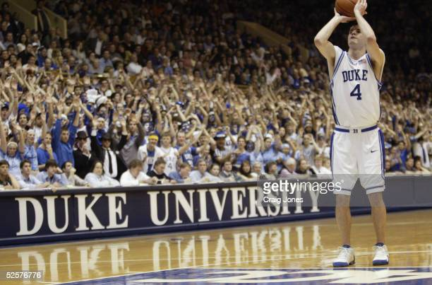 J Redick of the Duke Blue Devils shoots a free throw during the game against the Wake Forest Demon Deacons at Cameron Indoor Stadium on February 20...