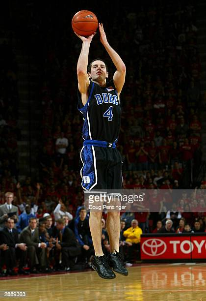 J Redick of the Duke Blue Devils takes a shot against the Maryland Terrapins as he collected 26 points as the Blue Devils defeated the Terps 6860...