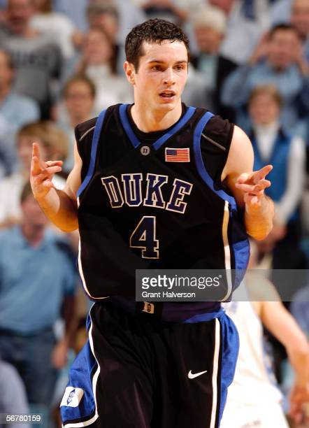 Redick of the Duke University Blue Devils reacts after sinking a three-point basket in the final minute against the North Carolina Tar Heels February...
