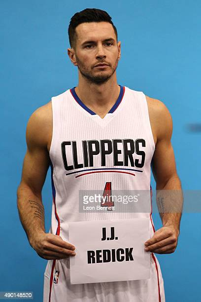 J Redick of the Los Angeles Clippers addresses the media at the Los Angeles Clippers Media Day on September 25 2015 in Playa Vista California
