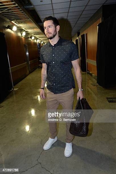 J Redick of the Los Angeles Clippers arrives at the arena before a game against the Houston Rockets in Game Four of the Western Conference Semifinals...
