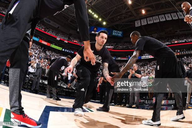 J Redick of the Los Angeles Clippers gets introduced before the game against the Utah Jazz during the Western Conference Quarterfinals of the 2017...