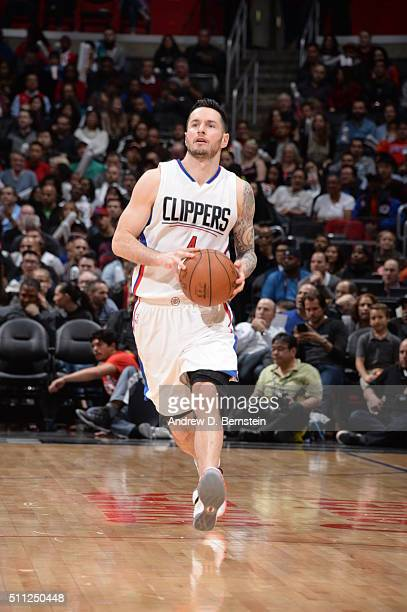 J Redick of the Los Angeles Clippers handles the ball against the San Antonio Spurs on February 18 2016 at STAPLES Center in Los Angeles California...