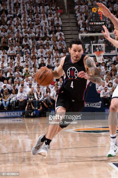 Redick of the Los Angeles Clippers handles the ball against the Utah Jazz during Game Six of the Western Conference Quarterfinals of the 2017 NBA...