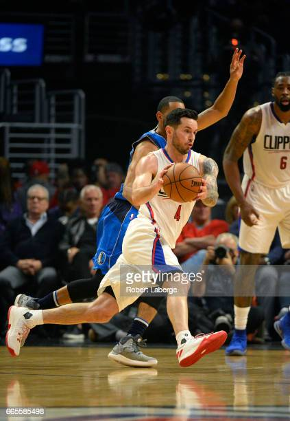 J J Redick of the Los Angeles Clippers plays against the Dallas Mavericks on April 5 2017 at STAPLES Center in Los Angeles California NOTE TO USER...