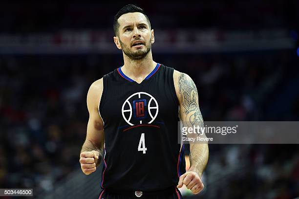 J Redick of the Los Angeles Clippers reacts to an officials call during a game against the New Orleans Pelicans at the Smoothie King Center on...