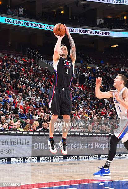 J Redick of the Los Angeles Clippers shoots the ball against the Philadelphia 76ers at Wells Fargo Center on February 8 2016 in Philadelphia...