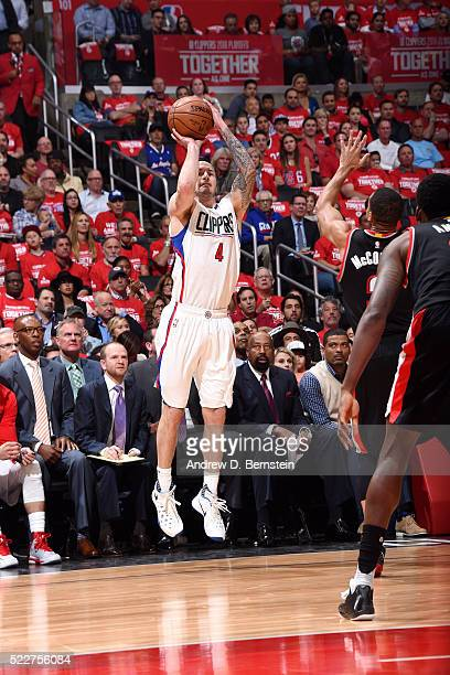 J Redick of the Los Angeles Clippers shoots the ball during the game against the Portland Trail Blazers in Game Two of the Western Conference...