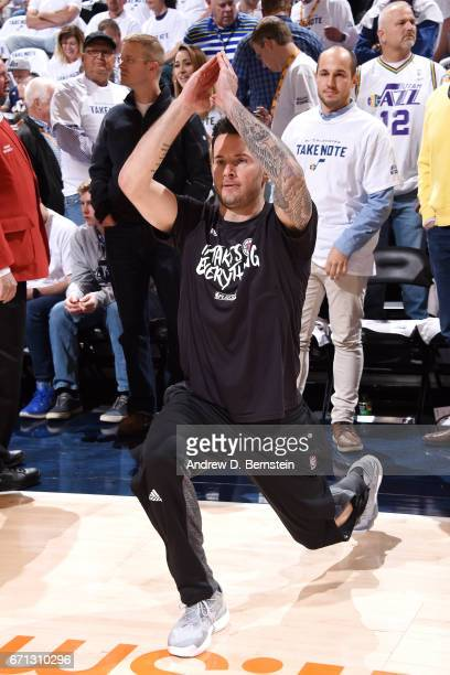 J Redick of the Los Angeles Clippers stretches before the game against the Utah Jazz during the Western Conference Quarterfinals of the 2017 NBA...