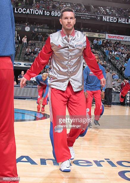J Redick of the Los Angeles Clippers warms up before a game against the Dallas Mavericks on March 13 2015 at the American Airlines Center in Dallas...