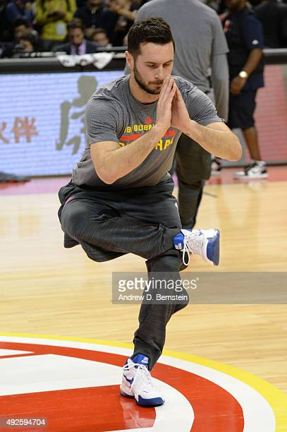 J Redick of the Los Angeles Clippers warms up before a game against the Charlotte Hornets as part of the 2015 NBA Global Games China at MercedesBenz...