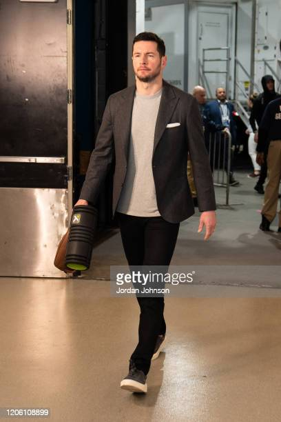 Redick of the New Orleans Pelicans arrives to the game against the Minnesota Timberwolves on March 8 2020 at Target Center in Minneapolis Minnesota...