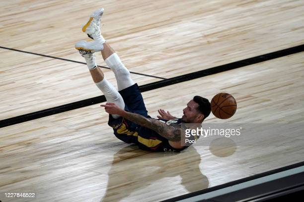 Redick of the New Orleans Pelicans falls to the floor during action against the Utah Jazz in the first half at HP Field House at ESPN Wide World Of...