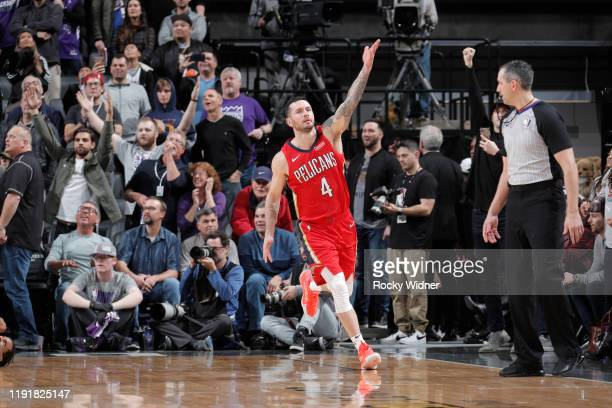 Redick of the New Orleans Pelicans reacts to hitting the game winning shot against the Sacramento Kings on January 4 2020 at Golden 1 Center in...
