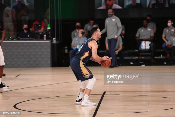 J Redick of the New Orleans Pelicans shoots a freethrow against the Milwaukee Bucks as part of the NBA Restart 2020 on July 27 2020 at The Arena at...