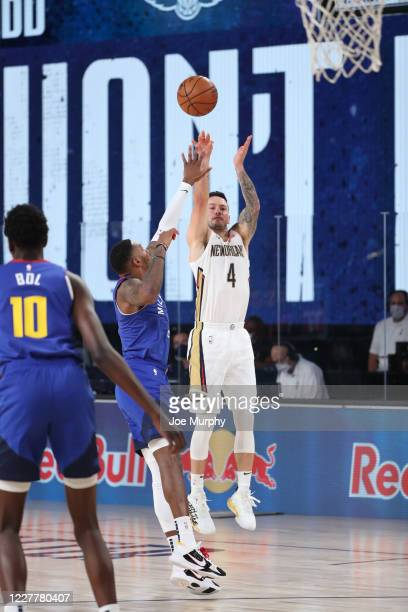 Redick of the New Orleans Pelicans shoots the ball against the Denver Nuggets on July 25 2020 at HP Field House at ESPN Wide World of Sports Complex...