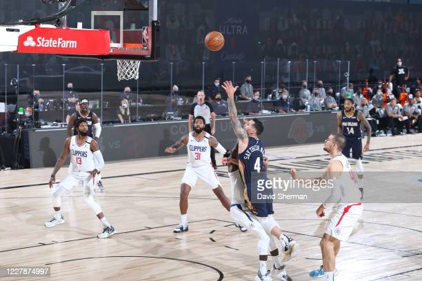 JJ Redick of the New Orleans Pelicans shoots the ball against the LA Clippers on August 1 2020 at HP Field House at ESPN Wide World of Sports in...