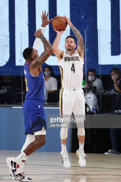 Redick of the New Orleans Pelicans shoots three point basket against the Denver Nuggets on July 25 2020 at HP Field House at ESPN Wide World of...