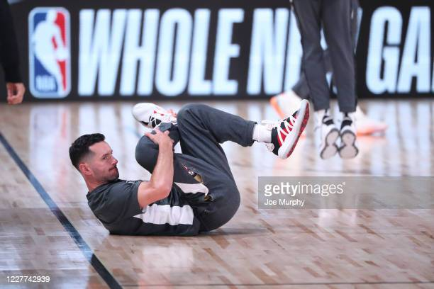 Redick of the New Orleans Pelicans stretches before the game on July 22 2020 at The Arena at ESPN Wide World of Sports Complex in Orlando Florida...