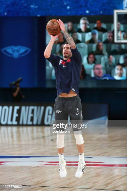 Redick of the New Orleans Pelicans warms up before the game on July 25 2020 at HP Field House at ESPN Wide World of Sports Complex in Orlando Florida...