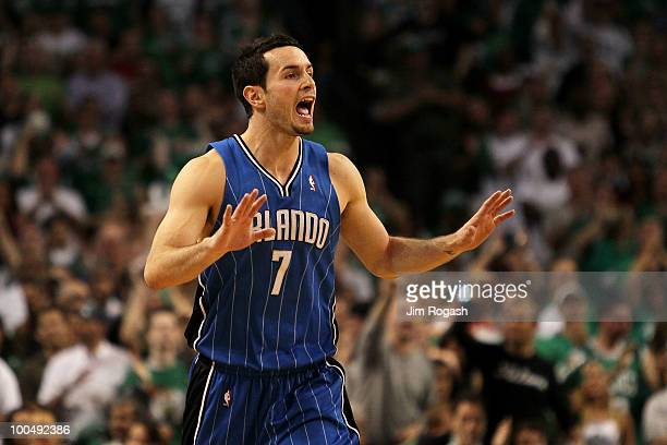 J Redick of the Orlando Magic reacts against the Boston Celtics in Game Four of the Eastern Conference Finals during the 2010 NBA Playoffs at TD...