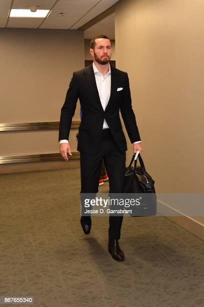 Redick of the Philadelphia 76ers arrives before the game against the Boston Celtics on October 20 2017 at Wells Fargo Center in Philadelphia...