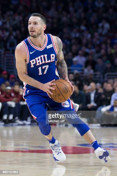 Redick of the Philadelphia 76ers controls the ball against the Cleveland Cavaliers at the Wells Fargo Center on November 27 2017 in Philadelphia...