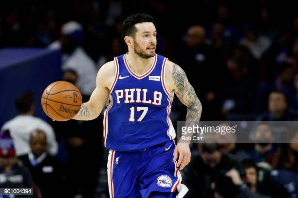 Redick of the Philadelphia 76ers dribbles the ball against the San Antonio Spurs in the second half at Wells Fargo Center on January 3 2018 in...