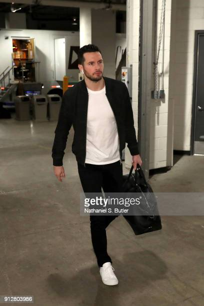 Redick of the Philadelphia 76ers enters the arena before the game against the Brooklyn Nets on January 31 2018 at Barclays Center in Brooklyn New...