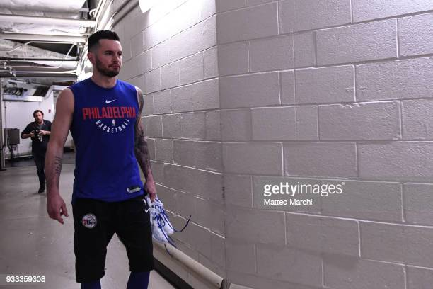 Redick of the Philadelphia 76ers enters the court before the game against the New York Knicks at Madison Square Garden on March 15 2018 in New York...