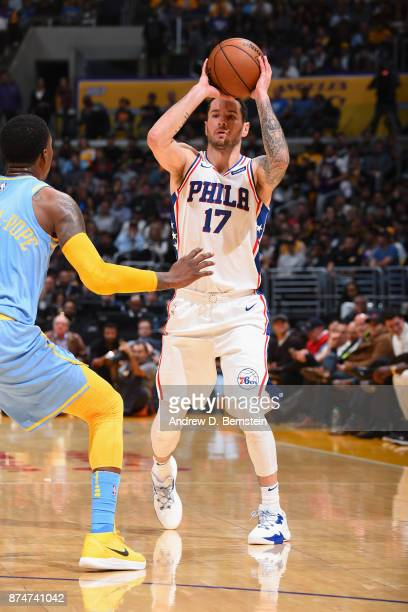 Redick of the Philadelphia 76ers handles the ball against the Los Angeles Lakers on November 15 2017 at STAPLES Center in Los Angeles California NOTE...