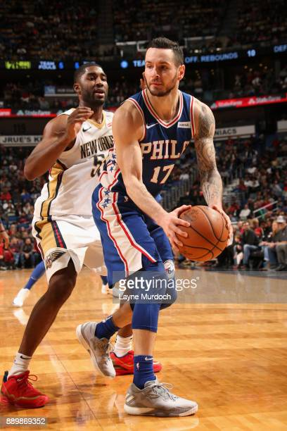 Redick of the Philadelphia 76ers handles the ball against the New Orleans Pelicans on December 10 2017 at the Smoothie King Center in New Orleans...
