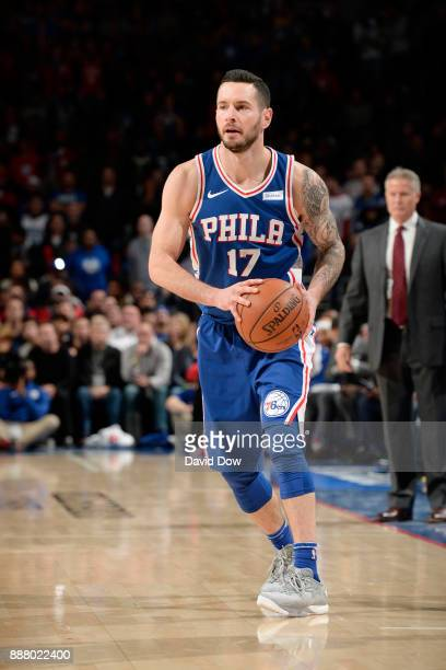 Redick of the Philadelphia 76ers handles the ball during the game against the Los Angeles Lakers on December 7 2017 at Wells Fargo Center in...