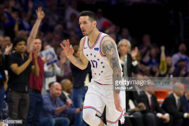 Redick of the Philadelphia 76ers reacts against the Toronto Raptors in Game Six of the Eastern Conference Semifinals at the Wells Fargo Center on May...