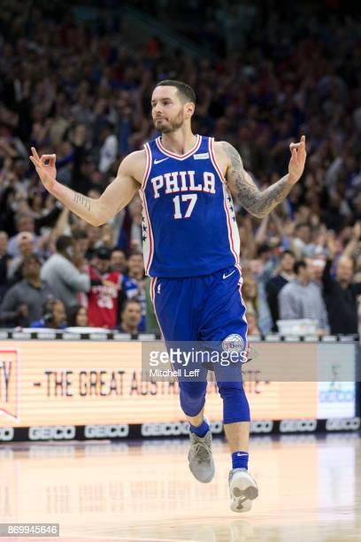 Redick of the Philadelphia 76ers reacts fans after a made three point basket in the fourth quarter against the Indiana Pacers at the Wells Fargo...