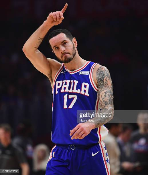 Redick of the Philadelphia 76ers reacts to the applause of the crowd as he returns as a 76er during the first half against the LA Clippers at Staples...